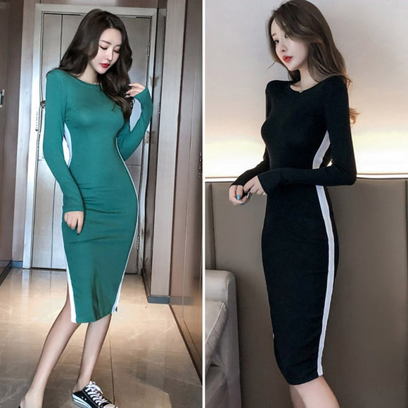 Long Sleeve Split Bodycon Midi Dress - Loren Ashley