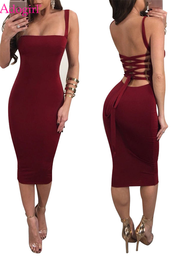 Spaghetti Straps Open Back Midi Dress - Loren Ashley