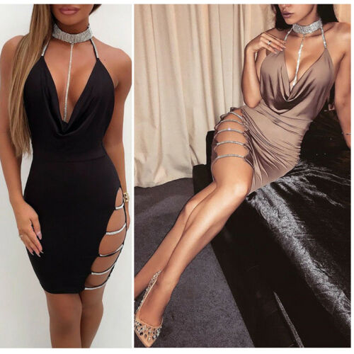 Low Cut Slit Side Evening Mini Dress - Loren Ashley