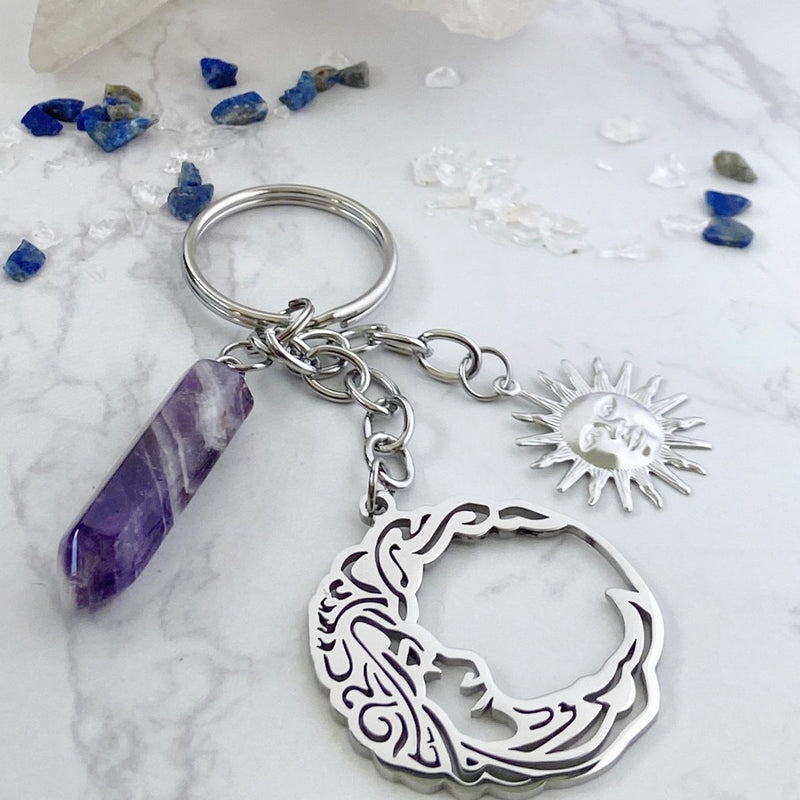 'Celestial Protection' Amethyst and Stainless Steel Keychain - KawaiiKandi