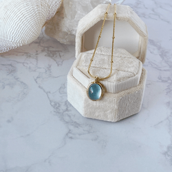 'Communication and Healing' 18K Gold Plated Titanium Aquamarine Necklace - KawaiiKandi