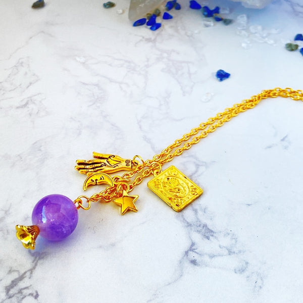 'Foreseeable Future' Amethyst Charm Necklace - KawaiiKandi