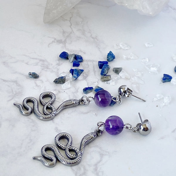'Introspection' Amethyst and Stainless Steel Snake Earrings - KawaiiKandi