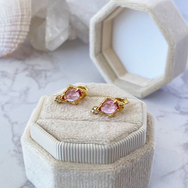 'Knowledge and Wisdom' Pink Corundum Earrings - KawaiiKandi