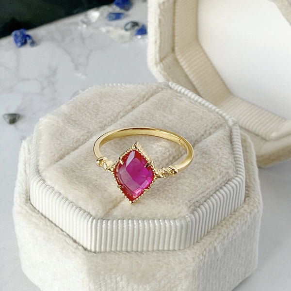 'Knowledge' Gold Plated Sterling Silver and Red Corundum Ring - KawaiiKandi