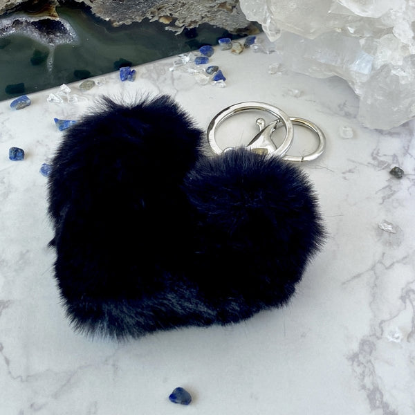'Make My Heart Sing' Fluffy Heart Shaped Pom Pom Keychain - KawaiiKandi