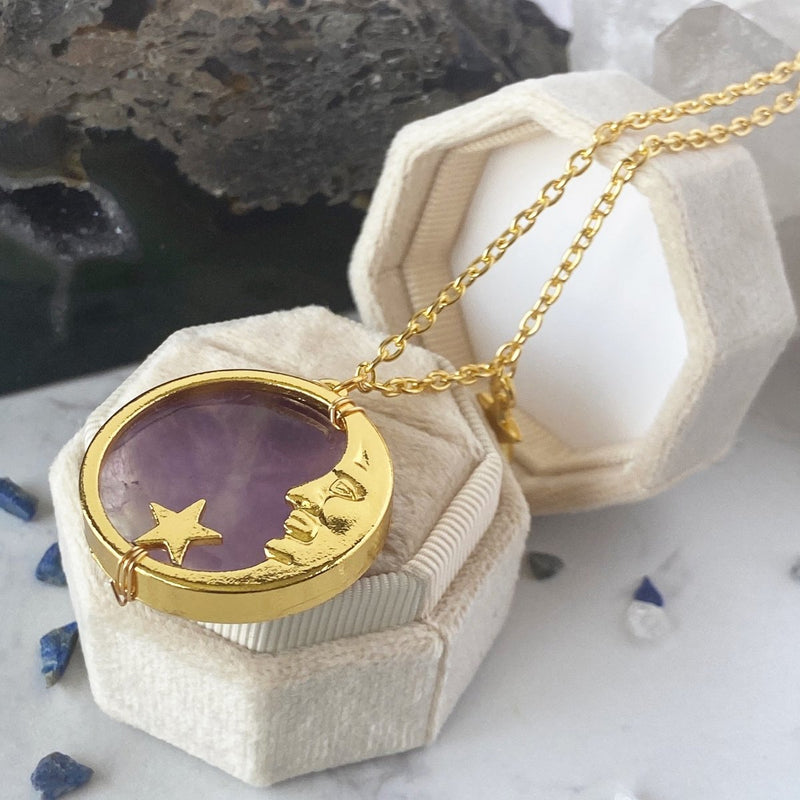 'Moon Protection' Wire Wrapped Crescent Moon Amethyst Amulet Necklace - KawaiiKandi