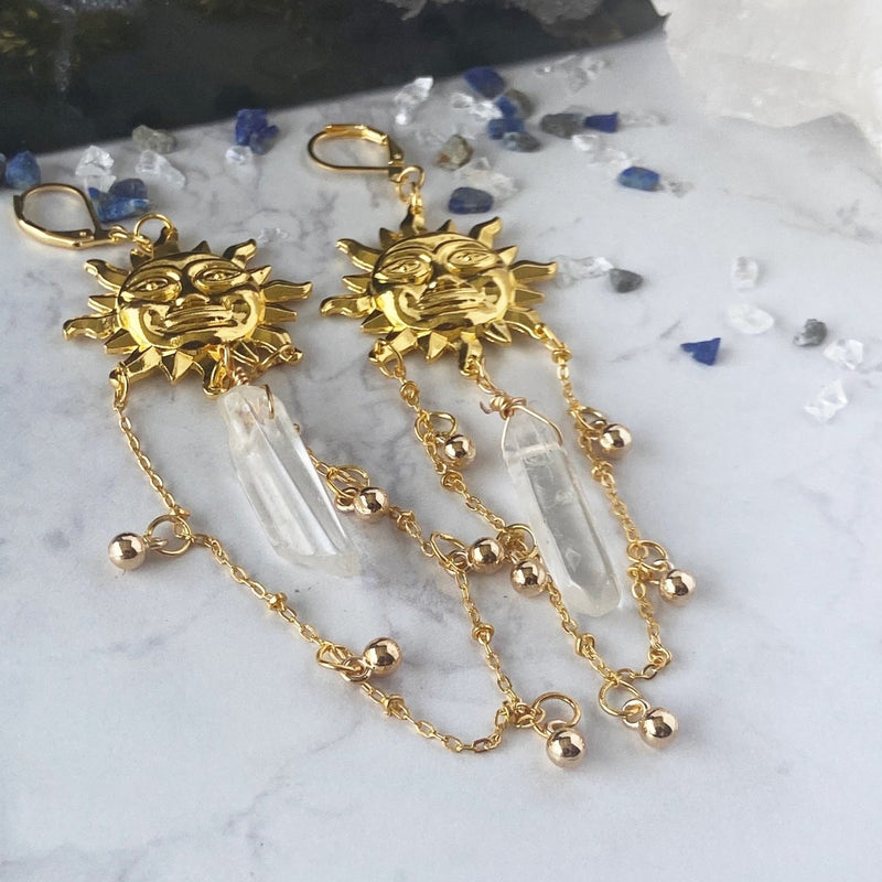 'Natural and Raw' Natural Quartz and Vintage Sun Earrings - KawaiiKandi