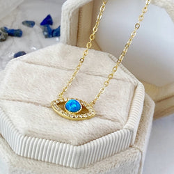 'Precious and Protective' Gold Plated Sterling Silver Evil Eye Pendant Necklace - KawaiiKandi