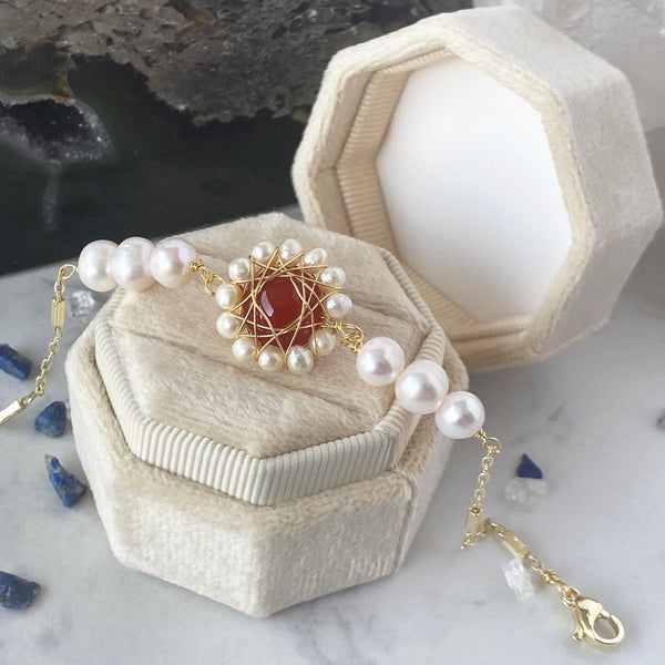 'Royal Blood Spilled' Wire Wrapped 14k Gold Plated and Freshwater Pearl Natural Red Agate Bracelet - KawaiiKandi
