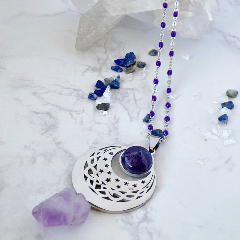 'Selene' Amethyst Cluster and Stainless Steel Amulet Necklace - KawaiiKandi