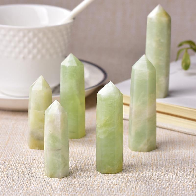 Snowflake Jade Crystal Point Obelisk - KawaiiKandi