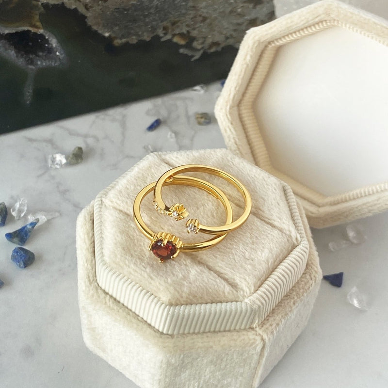 'Stargazer' Sterling Silver and 14K Yellow Gold with Garnet or Blue Topaz Adjustable Ring Set - KawaiiKandi