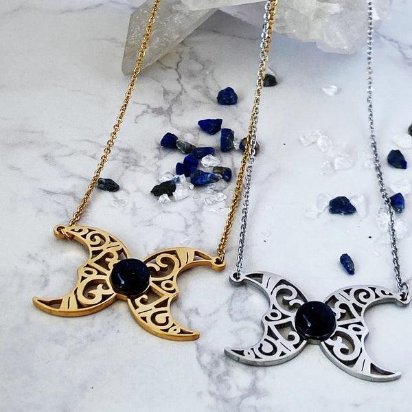 'The Amulet' Stainless Steel and Blue Sandstone Triple Moon Goddess Necklace - KawaiiKandi