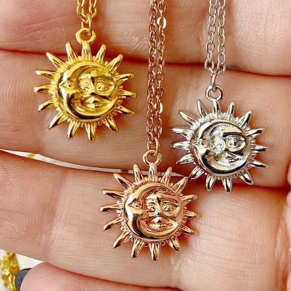 'We Belong' Sun and Moon Stainless Steel Necklace - KawaiiKandi