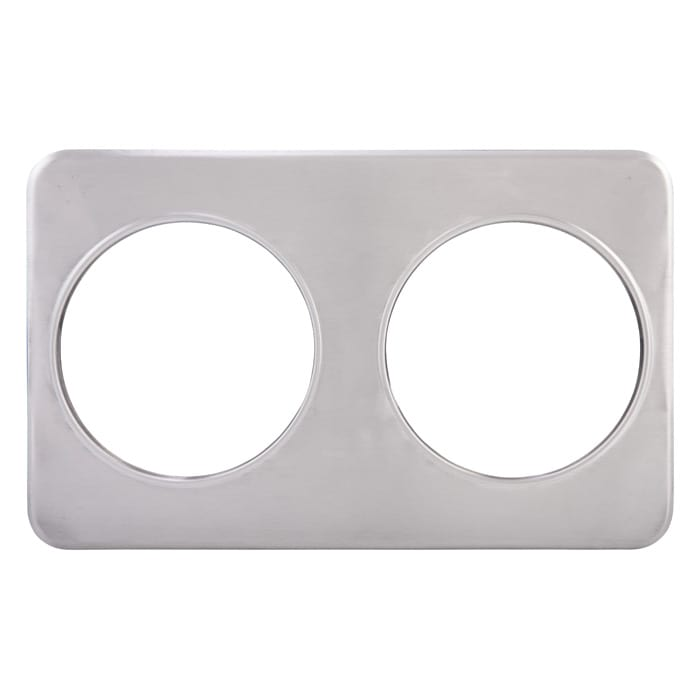"Winco ADP-808 Stainless Steel Adapter Plate With 2 8 3/8"" Holes"