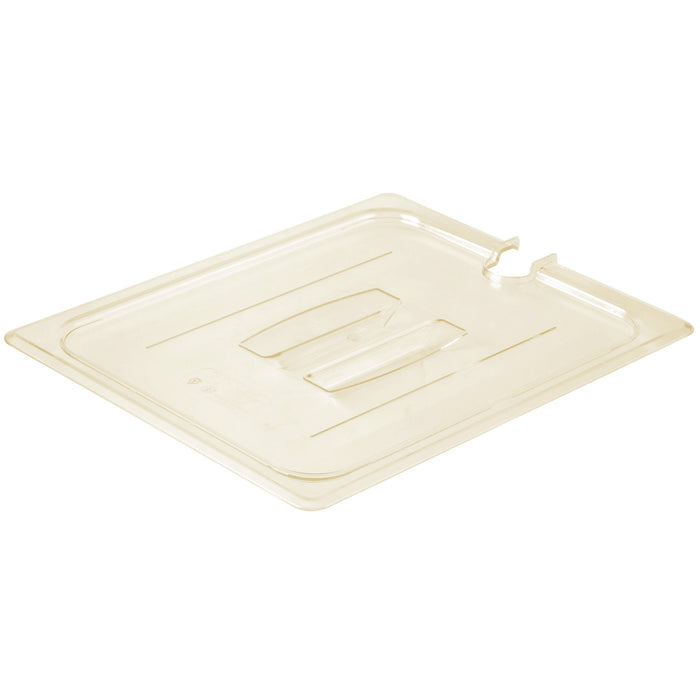 Cambro 20HPCHN-150 1/2 Size Food Pan Cover Notched - Amber