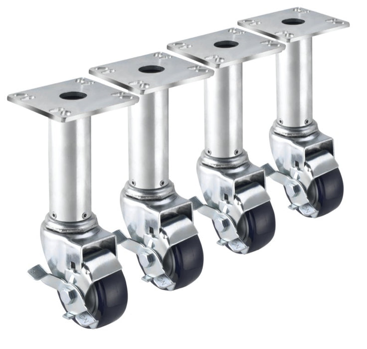 "Krowne 28-117S 3"" Adjustable Plate Casters With Brake"