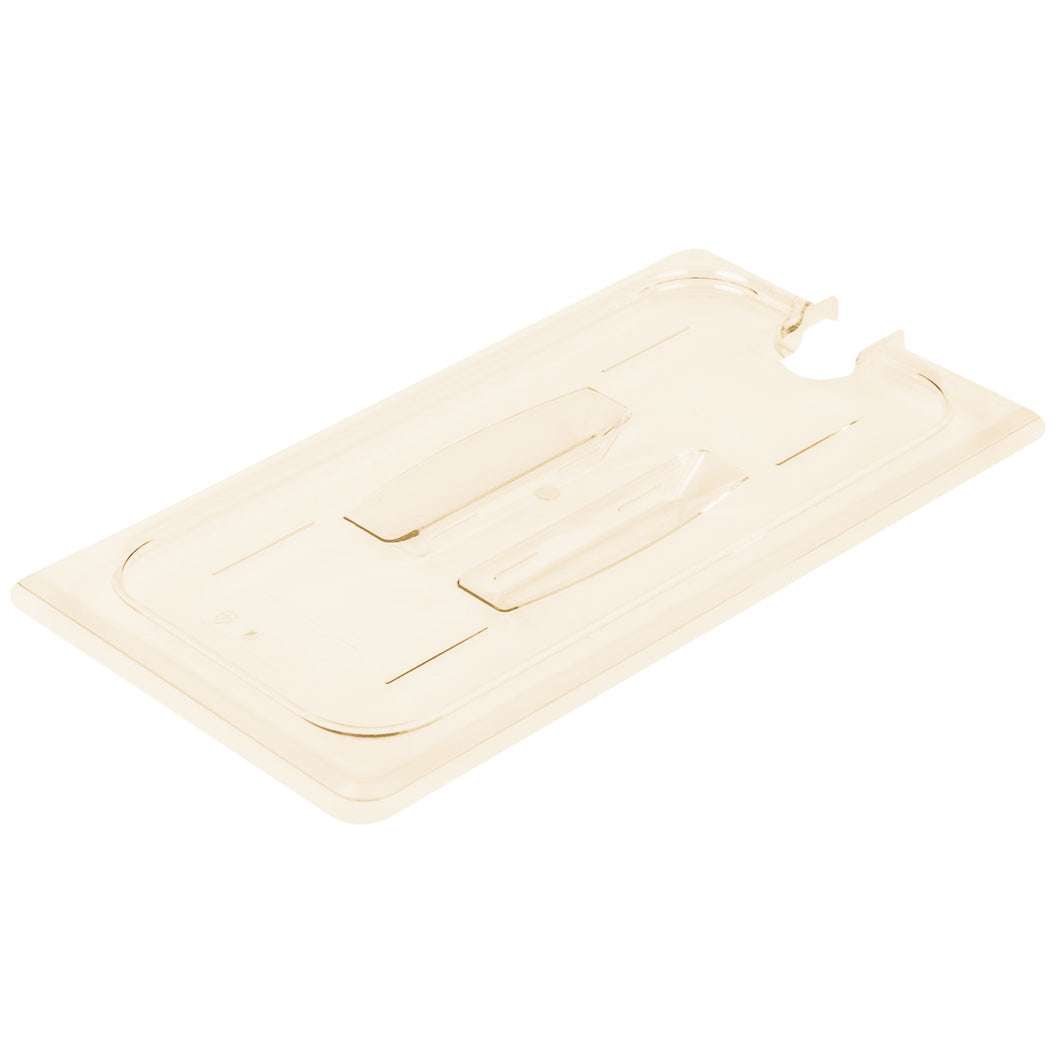 Cambro 30HPCHN-150 1/3 Size Food Pan Cover Notched - Amber