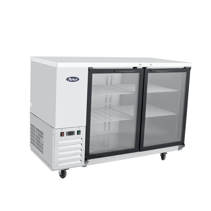"Atosa MBB48G-GR 48"" Two Section Back Bar Cooler With Glass Doors - Stainless"