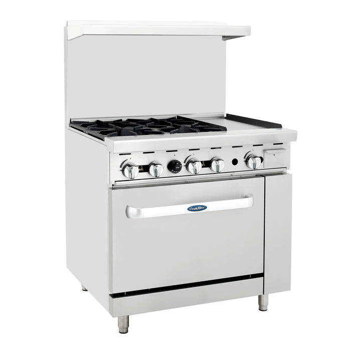 "Atosa ATO-4B12G 36"" CookRite Range (4) 25,000 BTU Open Burners 12""W Griddle On The Right"
