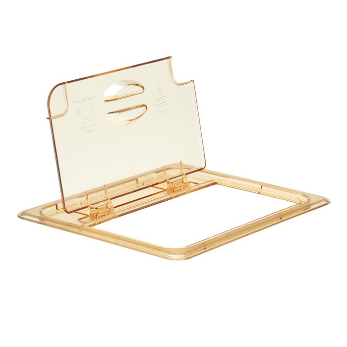 Cambro 20HPLN150 1/2 Size Food Pan Cover Notched With Flip Lid - Amber