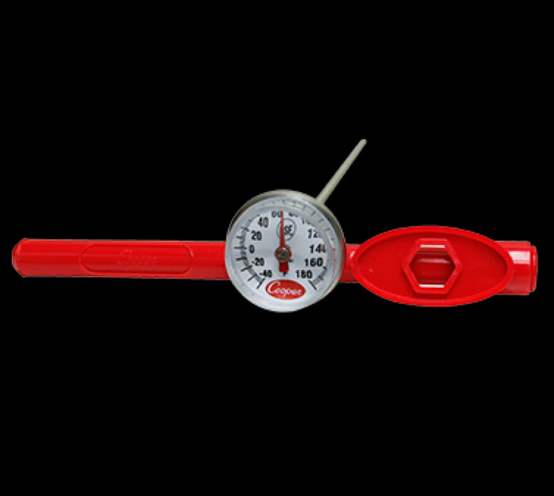 "Cooper-Atkins 1246-01-1 Dial Type Pocket Test Thermometer With 5"" Stem - Red"