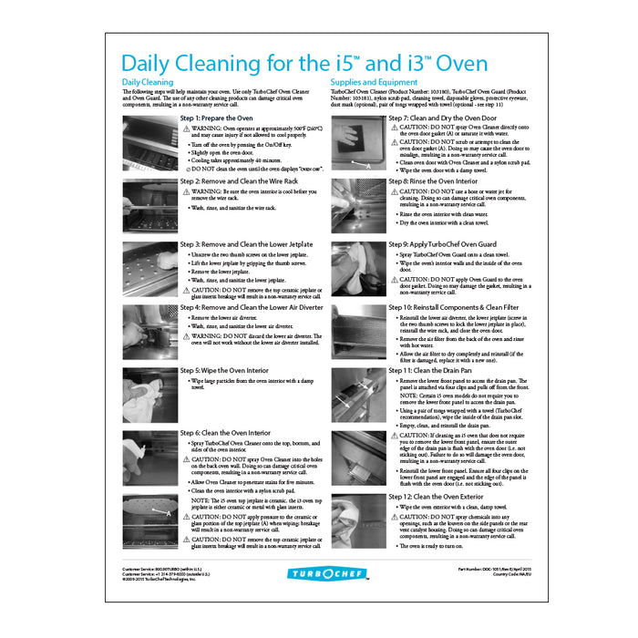 TurboChef DOC-1051 Poster Daily Cleaning i5 & i3 Ovens