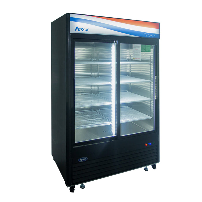 "Atosa MCF8727GR 54 2/5"" Two Section Refrigerator Merchandiser With Header Panel - Glass Door"