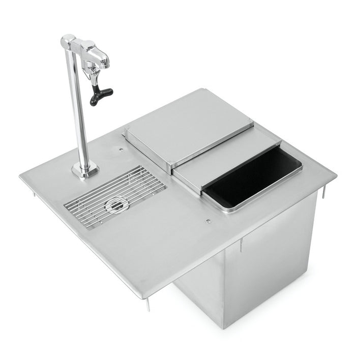 "John Boos PB-DIIBWS2118-P 21"" x 18"" Drop In Ice Bin With Faucet - Stainless Steel"