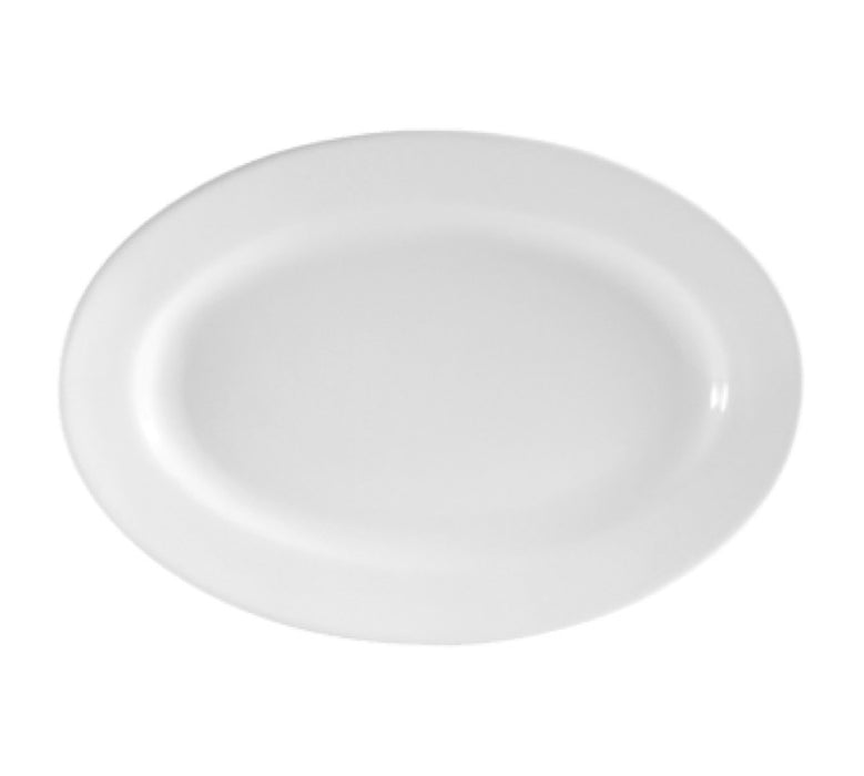 "CAC China RCN-41 Clinton 13 3/4"" x 9 7/8"" Platter (One Dozen) - White"