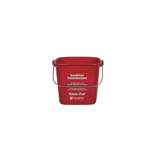 San Jamar KP196RD 6 Quart Kleen-Pail With Handle - Red