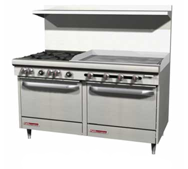 "Southbend S60DD-3GR Range 4 Burner With 36"" Griddle Right Gas"