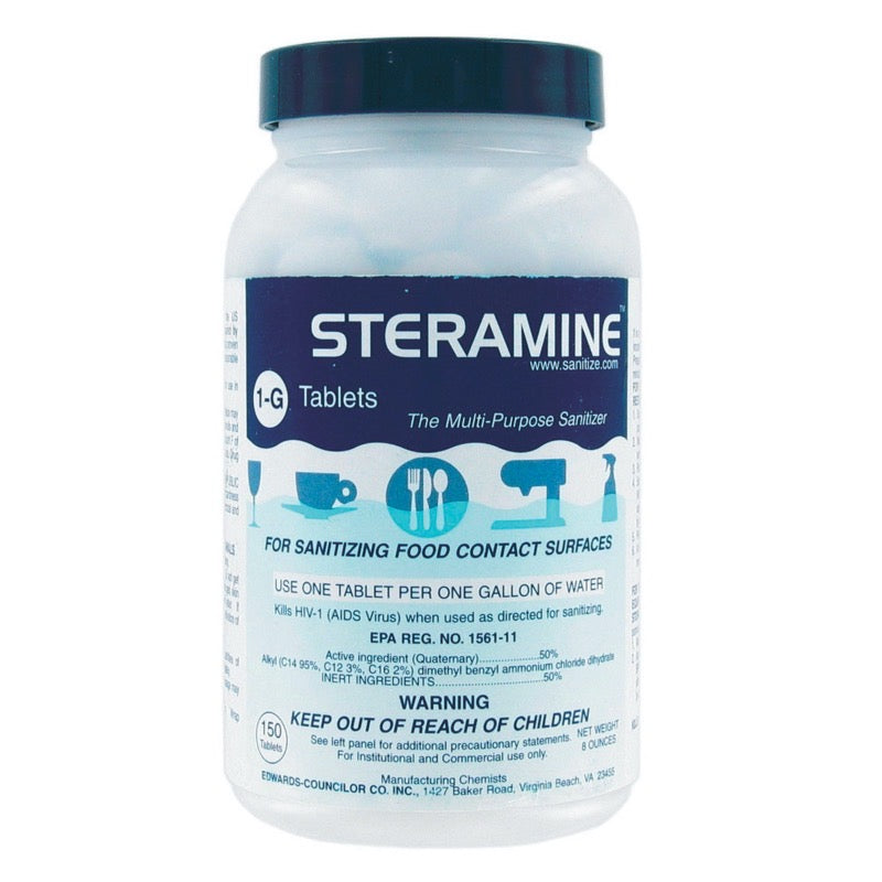 Steramine Quaternary Sanitizing Tablets, Case of 6