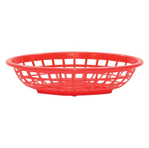 "TableCraft 1071R Oval Side Order Basket 7 3/4"" x 5 1/2"" x 1 7/8"" - Red"
