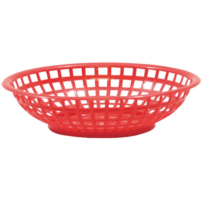 "TableCraft 1075R Round Serving Basket 8"" x 2 3/8"" - Red"