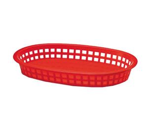 "TableCraft 1076R Oval Chicago Basket 10 1/2"" x 7"" x 1 1/2"" - Red"