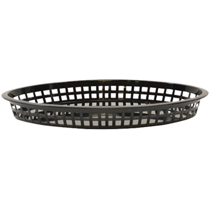 "TableCraft 1086BK Oval Texas Basket 12 3/4"" x 9 1/2"" x 1 1/2"" - Black"