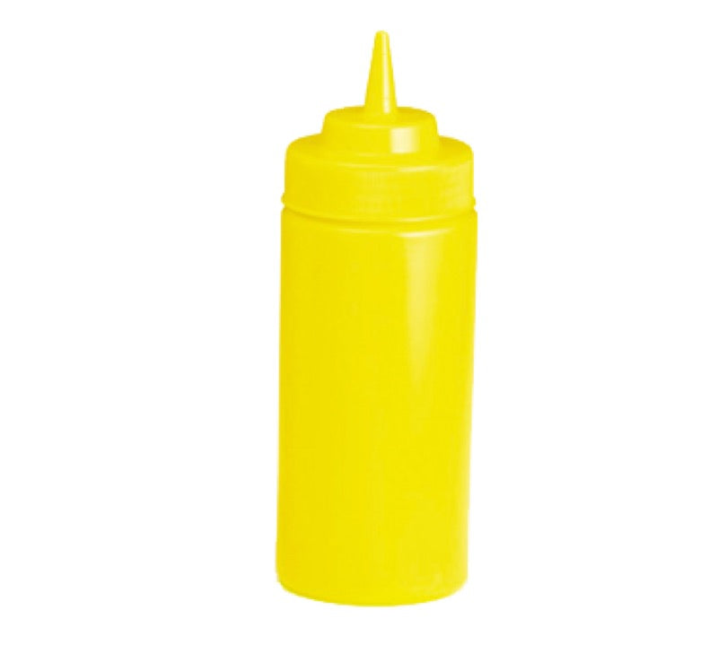 Table Craft 11663M 16 Ounce Wide Mouth Squeeze Bottle - Yellow