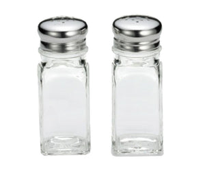 TableCraft 154S&P 2 Ounce Square Salt And Pepper Glass Shakers