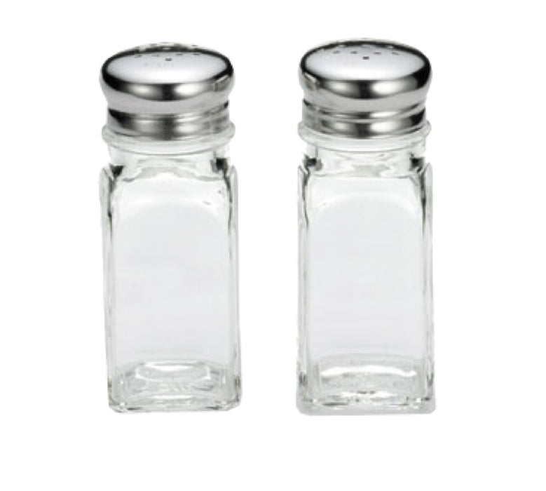 TableCraft 154S&P 2 Ounce Square Salt And Pepper Glass Shakers (One Pair)