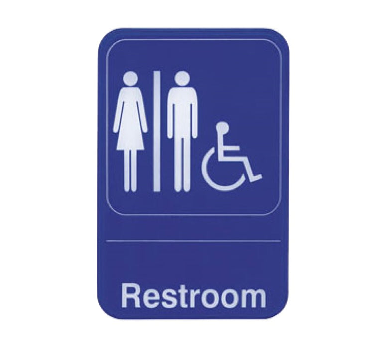 "Oneida S69-7BL 6"" x 9"" Braille Restroom Sign - White On Blue"