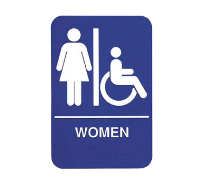 "Oneida S69B-1BL 6"" x 9"" Braille Women Restroom Sign - White On Blue"