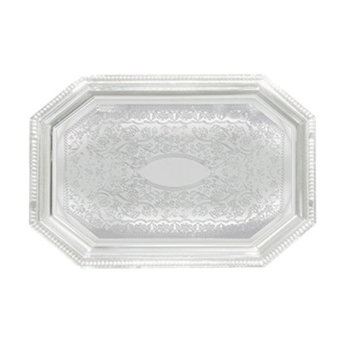 "Winco CMT-1420 Serving Tray 20"" x 14"" Octagonal Chrome Plated"