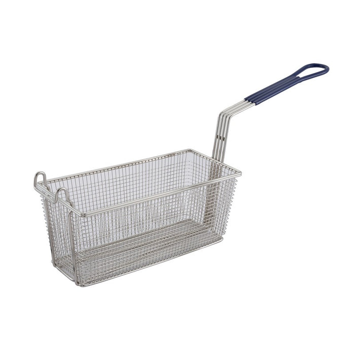 "Winco FB-20 Fry Basket 13 1/4"" x 5 5/8"" x 5 5/8"" Hook Handle - Blue"