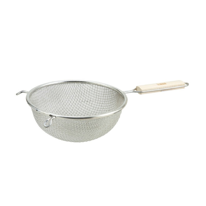 "Winco MSTF-8D Strainer 8"" Bowl Mesh Wood Handle"