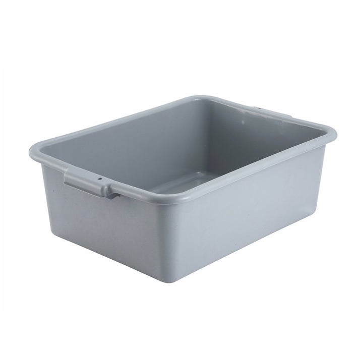 "Winco PL-7G Dish Box 7"" Deep Polypropylene - Gray"