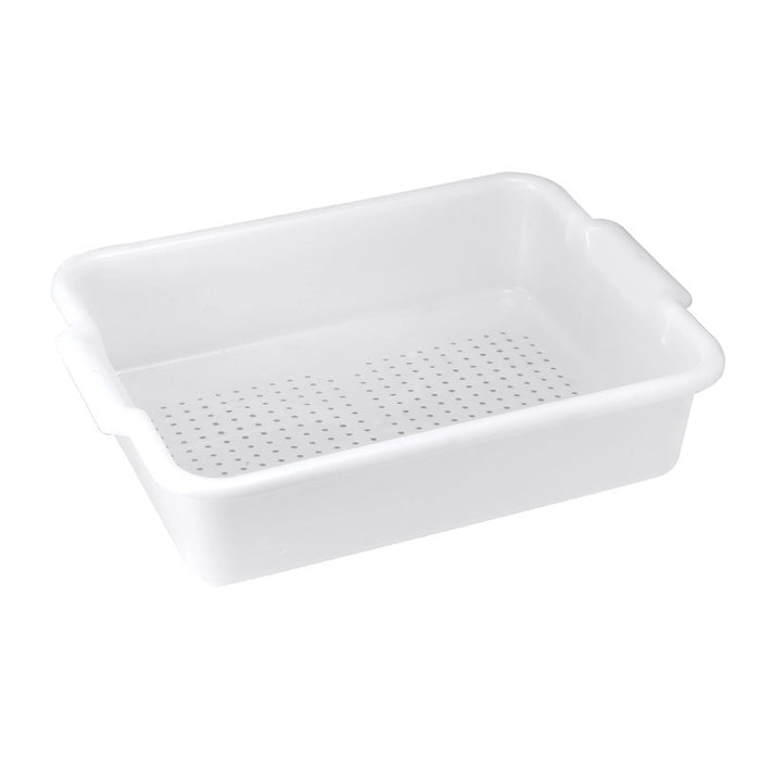 "Winco PLP-5W Bus Box 5"" Deep Perforated BPA Free Polypropylene - White"