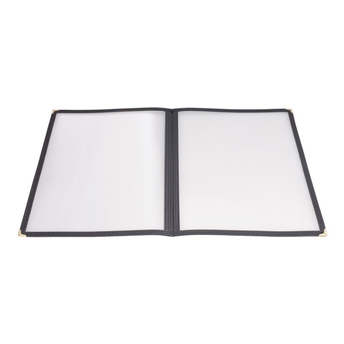 "Winco PMCD-9K Menu Cover Double Fold for 8 1/2"" x 11"" Black"