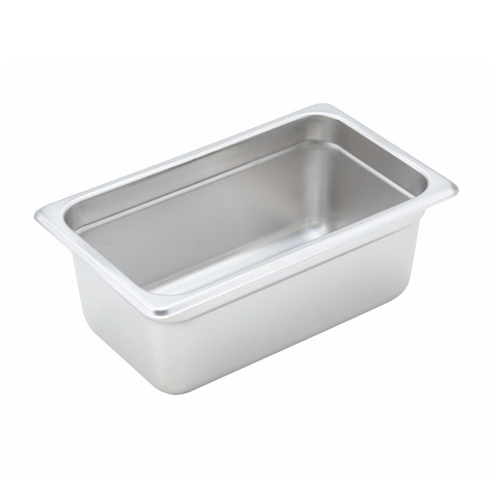 "Winco SPJH-404 Steam Table Pan 1/4 Size 4"" Deep Heavy Weight Stainless Steel"